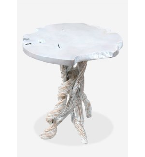 Roell Teak Top Side Table with Root Base White Wash