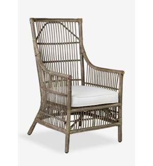 Winston Rattan High Back Arm Chair Grey
